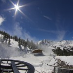 Snowmaking operations from the top of Chair 1 2014