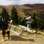 My assistant Toby checking out the snow guns.