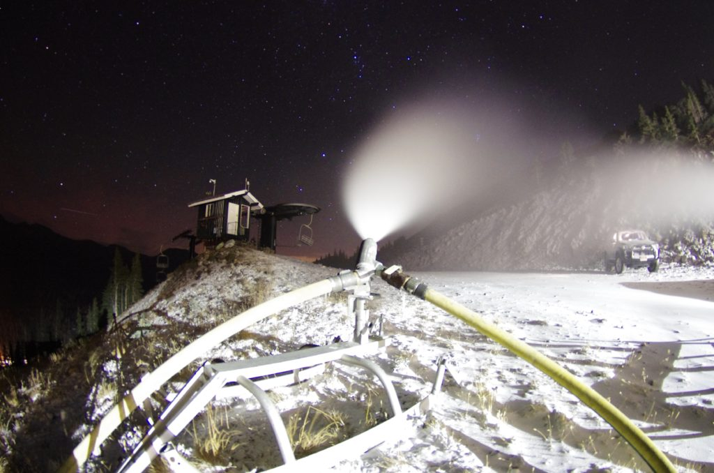 Snowmaking on Catwalk. October 3, 2016